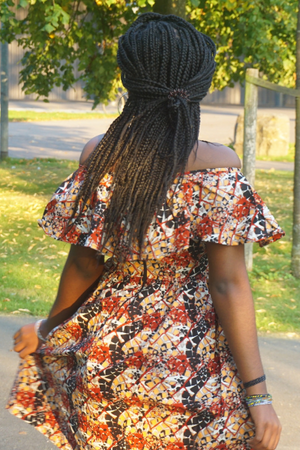 Rougemaron off shoulder Ankara dress