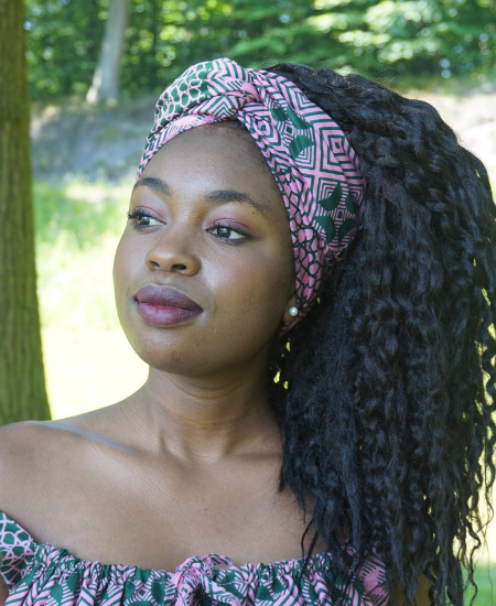 gentle pink and green ankara headwrap