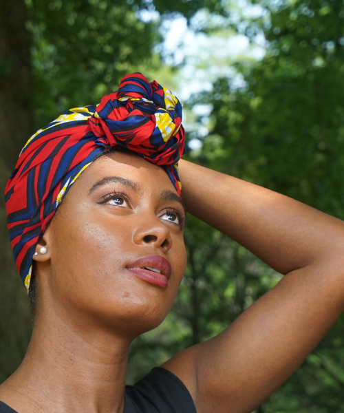 red blue yellow ankara headwrap