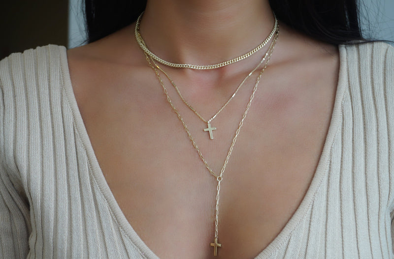 'LAYERED CROSS LARIAT NECKLACE'