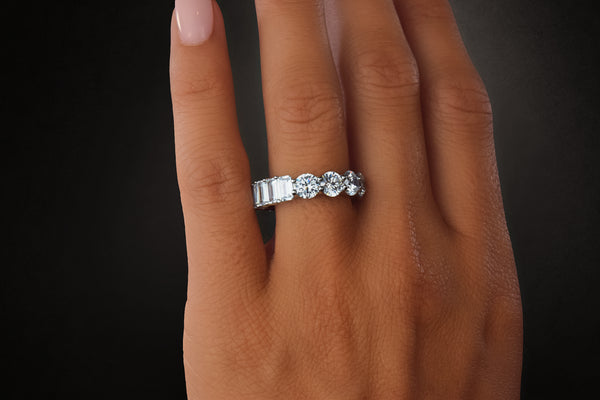 'ROUND & EMERALD CUT DUAL ETERNITY BAND'