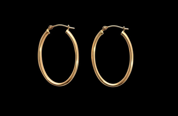 '14K GOLD OVAL HOOPS'