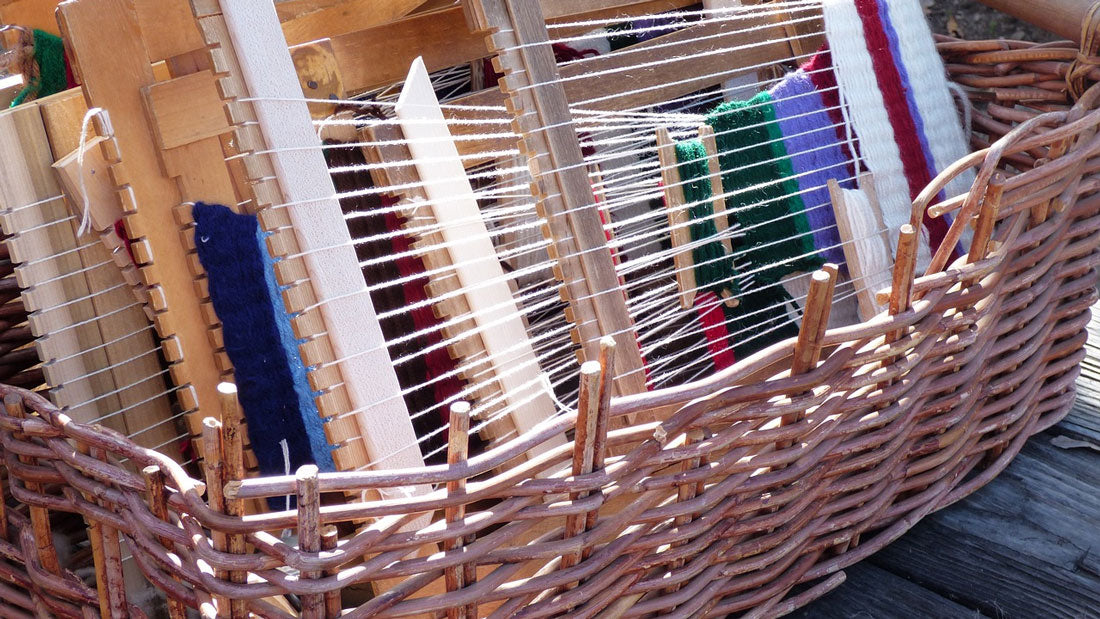 a weaving loom with cotton