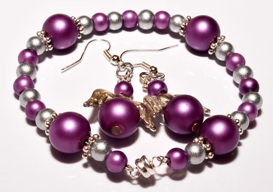 Purple and silver beaded bracelet and earrings
