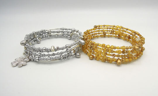 silver and gold beaded bracelets