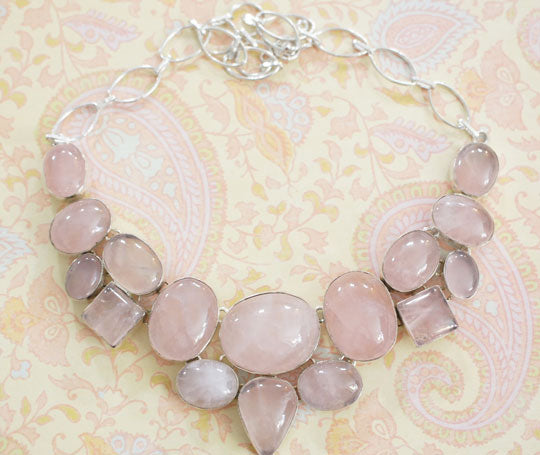 rose quartz stone choker necklace