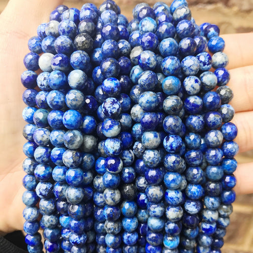 6mm lapis lazuli beads, faceted, 1 strand, 16 inches, approx. 65 beads.