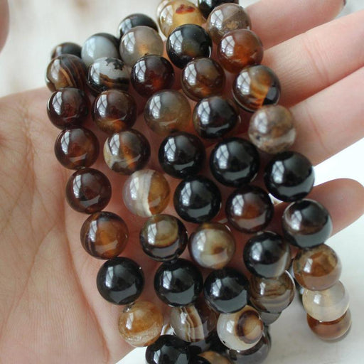 dark banded agate, 10mm, round, 1 strand, 16 inches, approx. 40 beads.
