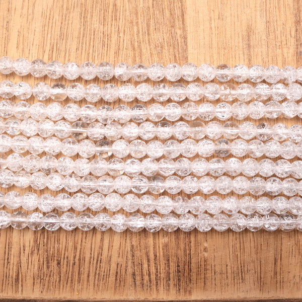 6mm round clear crackle quartz, glossy, 1 strand, 16 inches, approx. 66 beads.