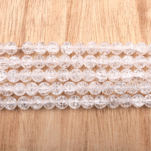 10mm round clear crackle quartz, glossy, 1 strand, 16 inches, approx. 40 beads.