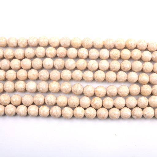 8mm round river stone beads, glossy, 1 strand, 16 inches, approx. 48 beads.