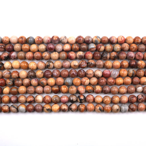6mm round Morocco agate, glossy, 1 strand, 16 inches, approx. 66 beads.