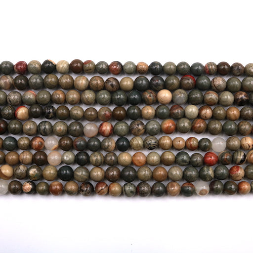 6mm round silver leaf jasper, glossy, 1 strand, 16 inches, approx. 66 beads.