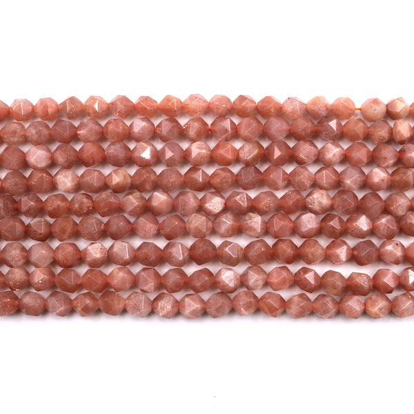 sunstone faceted diamond beads, 7mm x 8mm, 1 strand, 16 inches, approx. 48 beads.