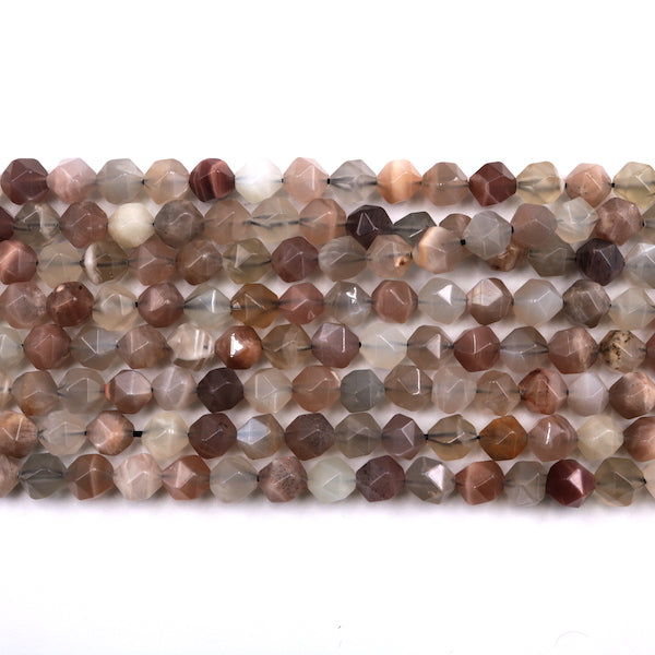 multicolor moonstone faceted diamond beads, 8mm x 8mm, glossy, 1 strand, 16 inches, approx. 48 beads.