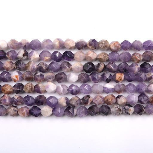 faceted diamond chevron amethyst beads, 7mm x 8mm, glossy, 1 strand, 16 inches, approx. 66 beads.