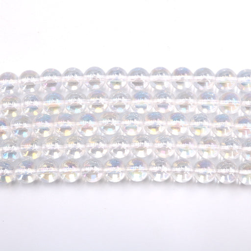 10mm round angel aura quartz beads, glossy, sold as 1 strand, approx. 40 beads.