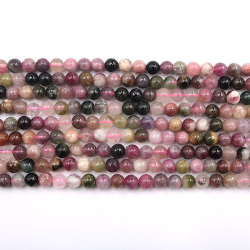 6mm round watermelon tourmaline, glossy, 1 strand, 16 inches, approx. 66 beads.