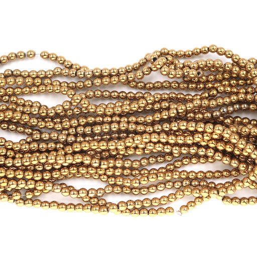 4mm round gold hematite beads, glossy, 1 strand, 16 inches, approx. 96 beads.