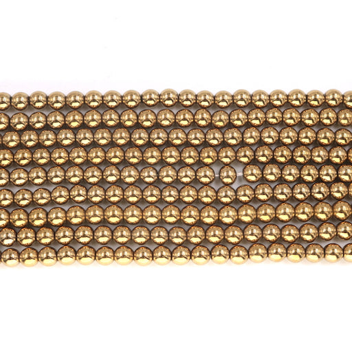 6mm round gold hematite beads, glossy, 1 strand, 16 inches, approx. 66 beads.