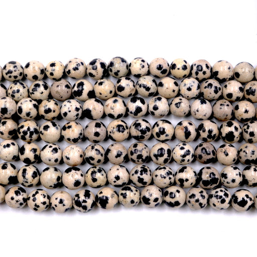 Dalmatian jasper, 8mm, round, glossy, 1 strand, 16 inches, approx. 48 beads.