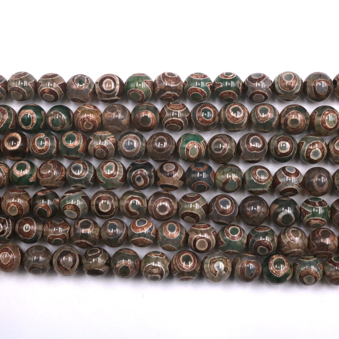 green Tibetan agate, 8mm, round, glossy, 1 strand, 16 inches, approx. 48 beads.