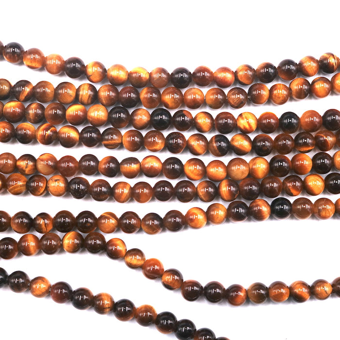 Yellow tiger eye, 6mm, round, glossy, 1 strand, 16 inches, approx. 66 beads.