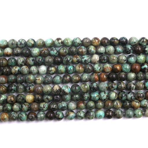 6mm round African turquoise beads, glossy, 1 strand, 16 inches, approx. 66 beads.
