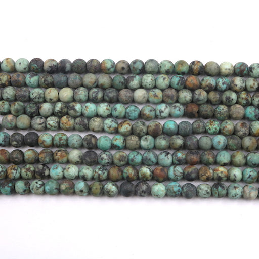6mm round African turquoise beads, matte, 1 strand, 16 inches, approx. 66 beads.