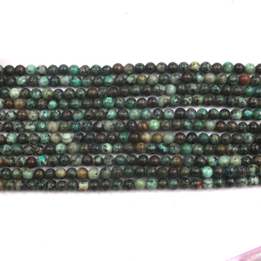 4mm round African turquoise beads, glossy, 1 strand, 16 inches, approx. 96 beads.