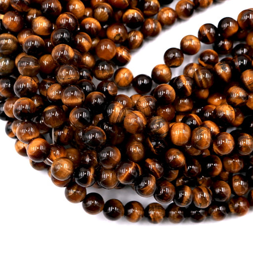 8mm round yellow tiger eye beads, glossy, 1 strand, 16 inches, approx. 48 beads.