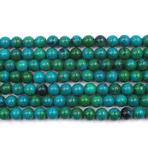 8mm round chrysocolla beads, glossy, 1 strand, 16 inches, approx. 48 beads.