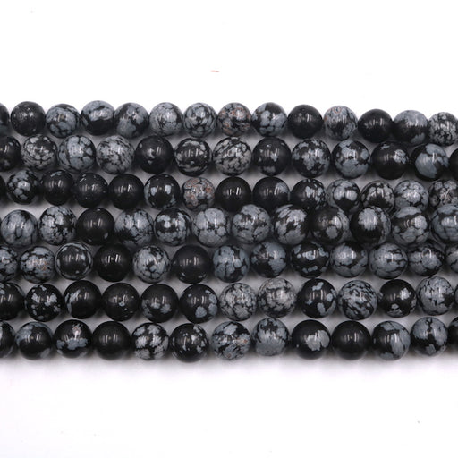 8mm round snowflake obsidian beads, glossy, 1 strand, 16 inches, approx. 48 beads.