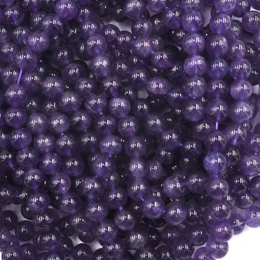 8mm round amethyst beads, glossy, 1 strand, 16 inches, approx. 48 beads.