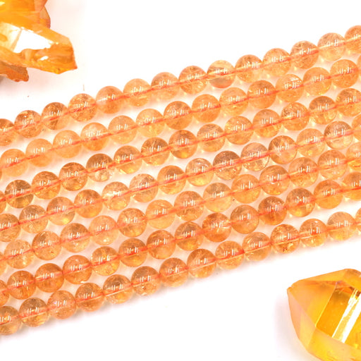 8mm round natural citrine beads, 1 strand, 16 inches, approx. 48 beads.