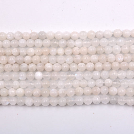 6mm round white moonstone beads, glossy, 1 strand, 16 inches, approx. 66 beads.