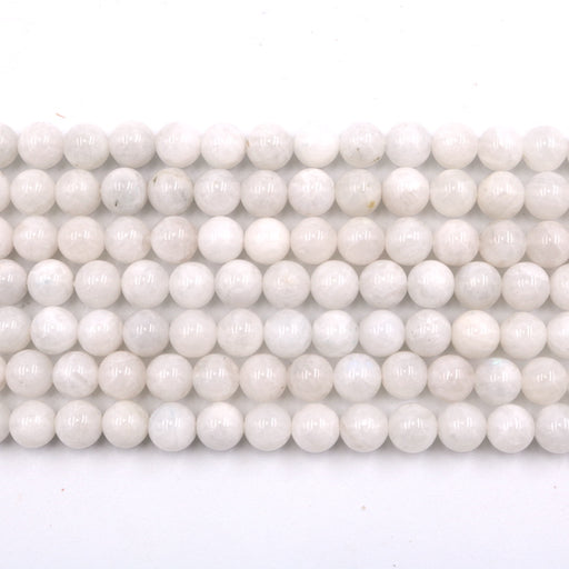 8mm round white moonstone beads, glossy, 1 strand, 16 inches, approx. 48 beads.
