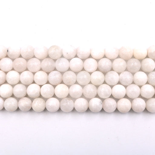 10mm round white moonstone beads, 1 strand, 16 inches, approx. 40 beads.