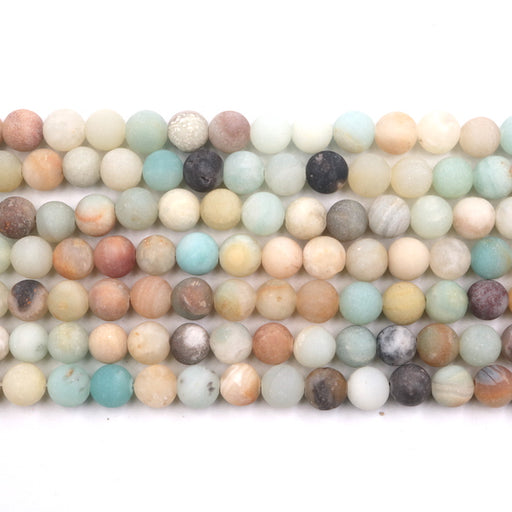 8mm round rainbow amazonite, matte, 1 strand, 16 inches, approx. 48 beads.