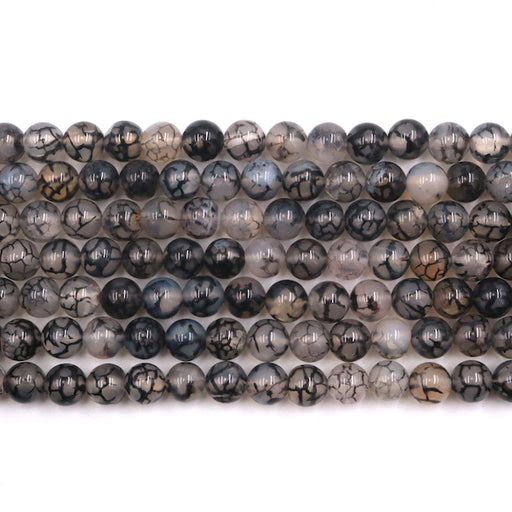 8mm round black dragon vein agate beads, glossy, 1 strand, 16 inches, approx. 48 beads.