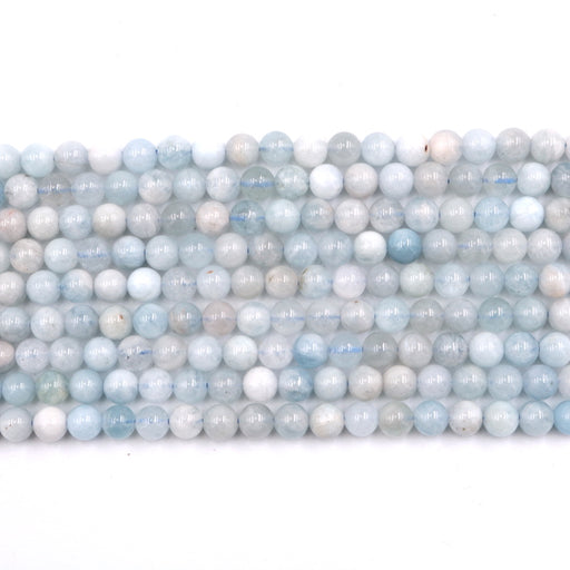 6mm round aquamarine beads, glossy, sold as 1 strand, 16 inches, approx. 66 beads.