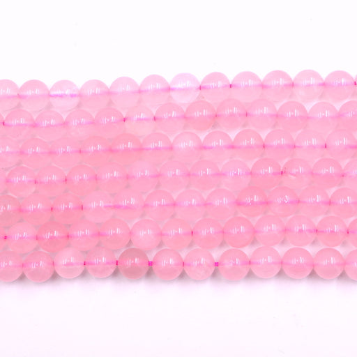 8mm round rose quartz beads, glossy, 1 strand, 16 inches, approx. 48 beads.