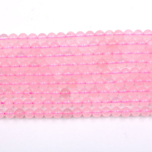 6mm round rose quartz beads, glossy, 1 strand, 16 inches, approx. 66 beads.