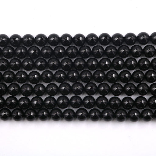 8mm round black tourmaline, glossy, 1 strand, 16 inches, approx. 48 beads.