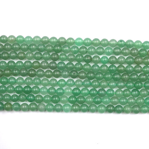 6mm round green aventurine beads, glossy, 1 strand, 16 inches, approx. 66 beads.