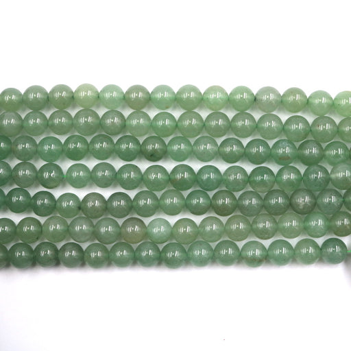 8mm round green aventurine beads, glossy, 1 strand, 16 inches, approx. 48 beads.