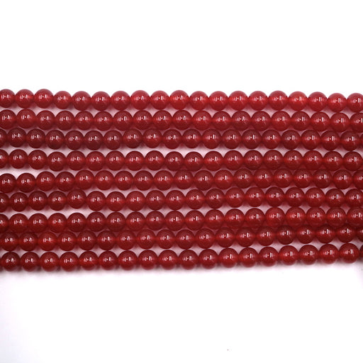 6mm round red carnelian, glossy, 1 strand, 16 inches, approx. 66 beads.
