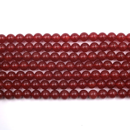 8mm round red carnelian beads, glossy, 1 strand, 16 inches, approx. 48 beads.