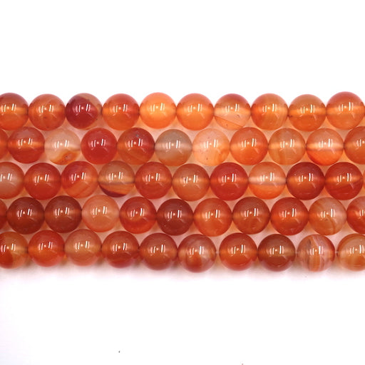 10mm round natural orange carnelian beads, glossy, 1 strand, 16 inches, approx. 40 beads.