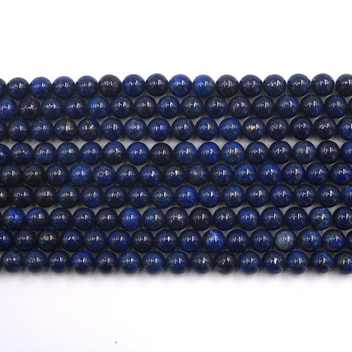 6mm round lapis lazuli beads, glossy, 1 strand, 16 inches, approx. 66 beads.